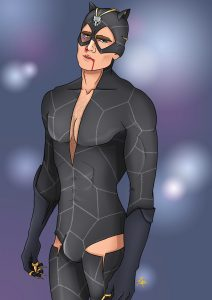 Genderswap Catwoman, he's hunky and he can purr